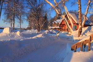 A Beautiful Winter Day at the Susitna River Lodge